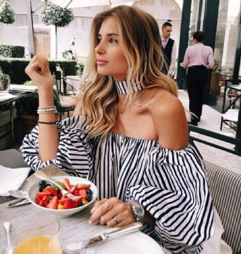 Fashion Women Lady Off Shoulder Stripe Blouse Tops Loose T shirt UK